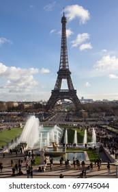 Eiffel Tower and fountain at Jardins du Trocadero, Paris, France