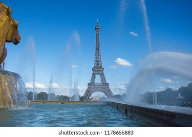 Eiffel Tower with fountains in Paris, France, 07.08.2018