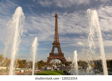 Eiffel Tower with fountains in Paris, France
