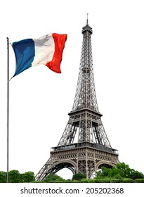 Eiffel Tower with French flag on white background