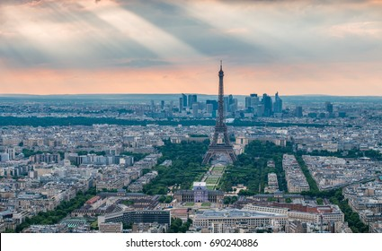 Eiffel Tower with God rays in the background
