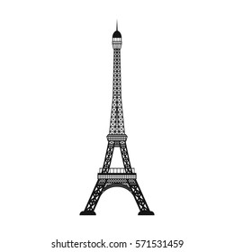 Eiffel tower icon in black style isolated on white background. Countries symbol stock bitmap, rastr illustration.