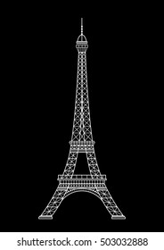 Eiffel tower isolated  illustration, it is easy to edit and change.