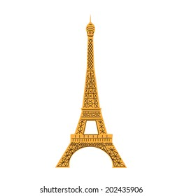 Eiffel Tower isolated on white. Summertime Europe vacations and traveling symbol.