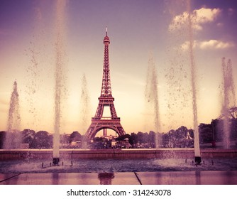 Eiffel Tower (La Tour Eiffel) with fountains. Beautiful sunset landscape in Paris. Instagram style filtred image