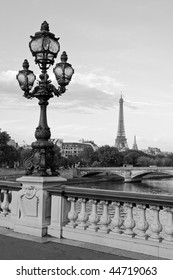Eiffel tower and a lamppost of the Alexandre III bridge