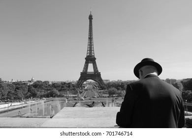Eiffel Tower landscape black and white and man