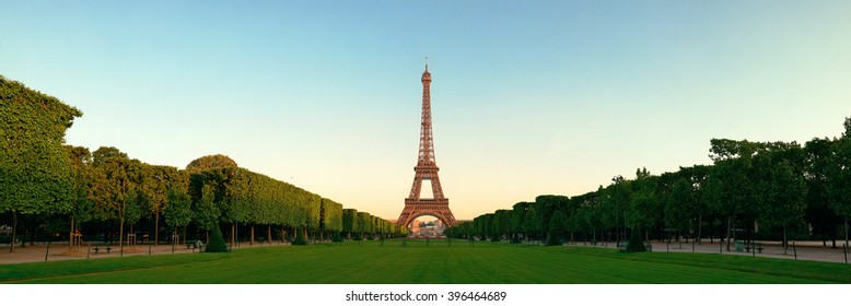 Eiffel Tower with lawn panorama view in Paris