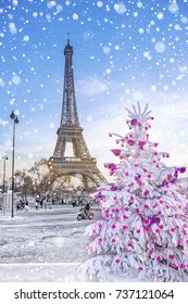 Eiffel Tower is the main attraction of Paris on the background of  Christmas trees covered by snow in winter.