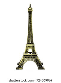 Eiffel tower model isolated on white background