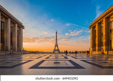 Eiffel Tower with Morning Light and Buildings, Landmark of Paris, France.