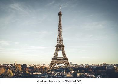 Eiffel Tower on beautiful autumn evening