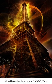 Eiffel tower on fantasy background