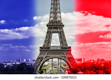Eiffel tower on the French flag background, Paris, France. It is a tourist attraction and symbol of Paris. Beautiful panorama of Paris with the famous great landmark and national flag.