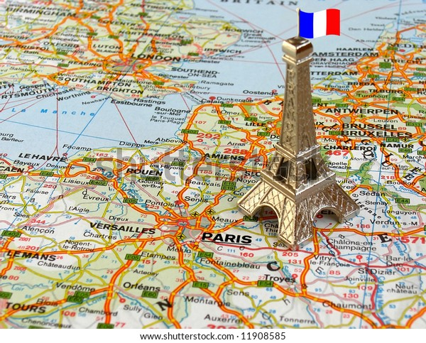 Map Of France Eiffel Tower.Eiffel Tower On Map France Stock Photo Edit Now 11908585
