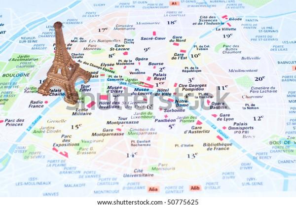 Eiffel Tower On Map Paris Stockfoto (Jetzt bearbeiten) 50775625