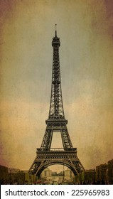 Eiffel tower on old background texture