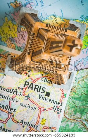 Eiffel Tower On Paris Map Stock Photo Edit Now 655324183