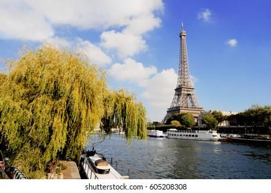 Eiffel tower on Seine river view