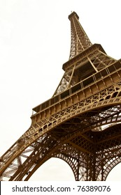 Eiffel Tower on a white background. In the sepia. A symbol of Paris.