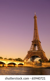 The Eiffel Tower over the River Seine in Paris, France