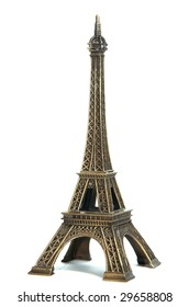 Eiffel tower over white background