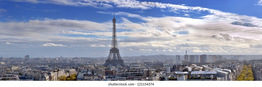 The Eiffel Tower and panorama of Paris, France.