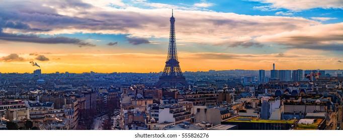 Eiffel Tower panorama as seen from Arc de Triomphe de l'Ã?toile