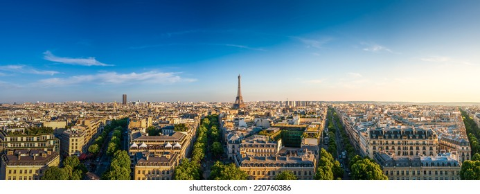 The Eiffel Tower and panorama view of Paris, France. HDR
