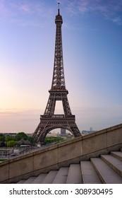 Eiffel tower in Paris against blue sky