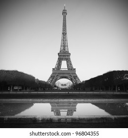 Eiffel Tower in Paris - black and white