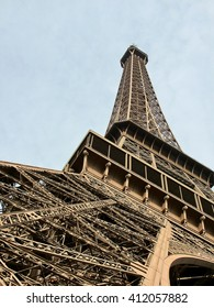 Eiffel tower in Paris from bottom to top