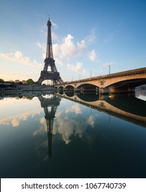 Eiffel Tower in Paris. Iéna bridge in the foreground.