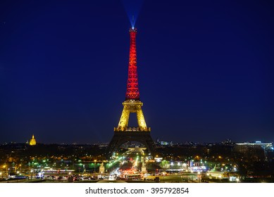 Eiffel Tower in Paris, covered in Belgium's flag colours after terror attack in Brussels, March 22nd 2016