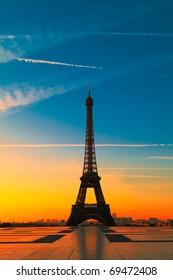 The Eiffel Tower in Paris at dawn