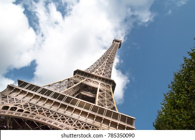 The Eiffel tower in Paris France,  AUGUST, Romantic travel background, particular view, The flowers under the tower.Wonderful Eiffel Tower and fountains of Trocadero with blue sky in Paris France