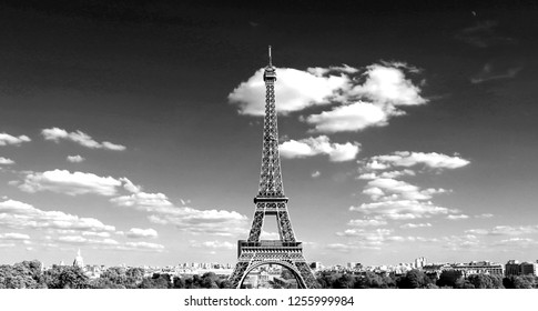 Eiffel Tower in Paris France with black and white effect from Trocadero Quartier