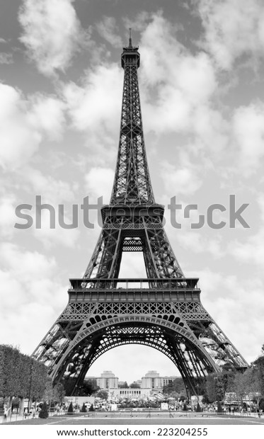Eiffel Tower Paris France Black White Buildings Landmarks Stock Image 223204255