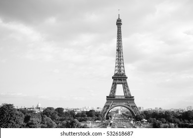 Eiffel Tower. Paris. France. Famous historical landmark on the quay of a river Seine. Romantic, tourist, architecture symbol. BW. Black  and white