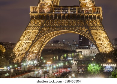 Eiffel tower in Paris, France at night in fall 2016