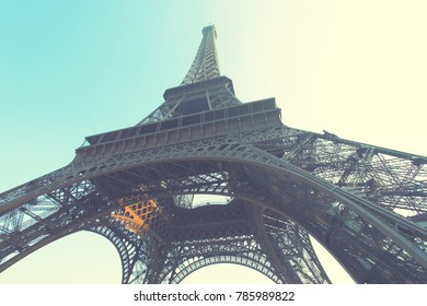 The Eiffel Tower in Paris, France. Retro style filtered image