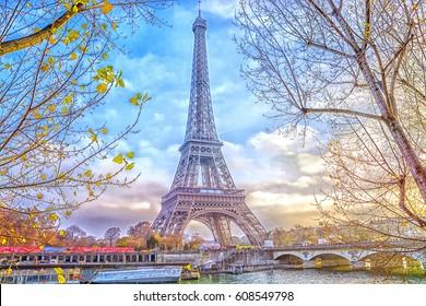 Eiffel Tower in Paris, France. Romantic travel background.