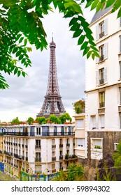 Eiffel Tower, Paris, France. view from street near Trocadero
