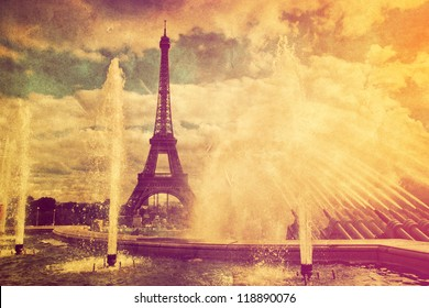 Eiffel Tower in Paris, France. Vintage, retro style