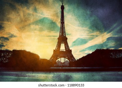 Eiffel Tower in Paris, France. Vintage, retro style. View from Champ de Mars