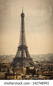 The Eiffel Tower in Paris, France. Vintage effect.