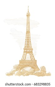 Eiffel Tower, Paris.  Graphic linear tonal drawing by slate pencil. Sepia, toned paper. Isolated on white background