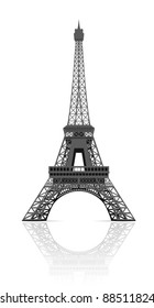Eiffel tower in Paris illustration on white