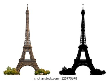 Eiffel Tower of Paris - isolated photograph with corresponding grayscale alpha mask