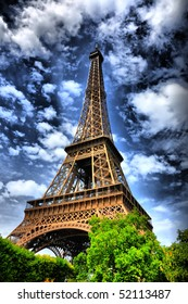 Eiffel tower in Paris, Italy. High dynamic contrast composition